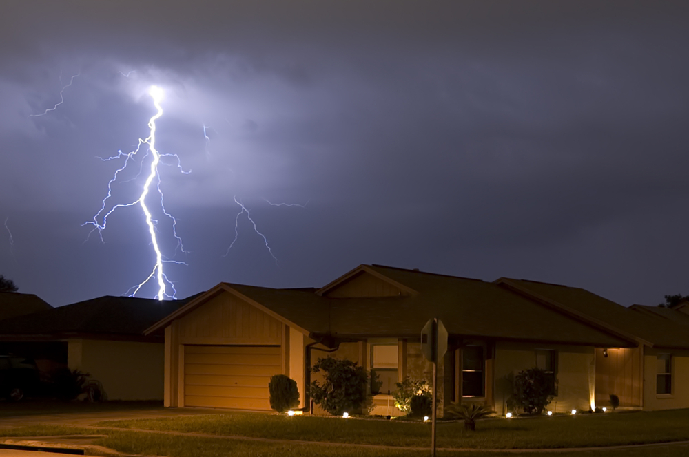 a home getting struck by lightning