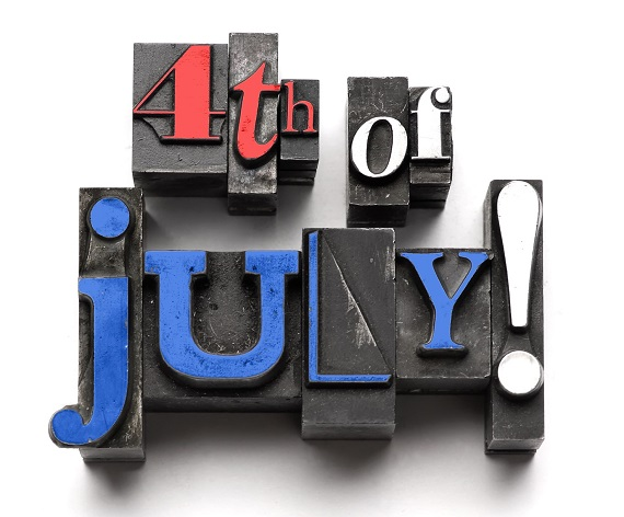"""rubber stamps that spell out """"4th of July!"""""""